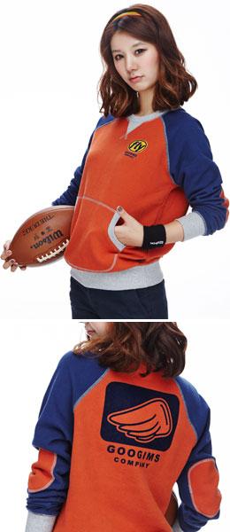 橙+海军蓝色 拼色插肩袖运动卫衣