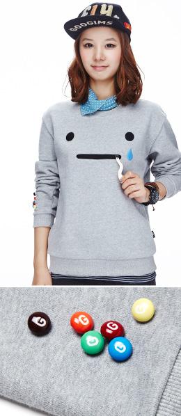 灰色 拉链卡通脸活力卫衣