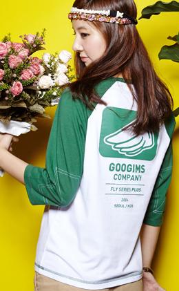 白+绿色 拼色七分袖休闲T恤