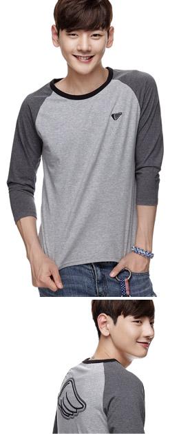 炭灰色 领边拼色T恤