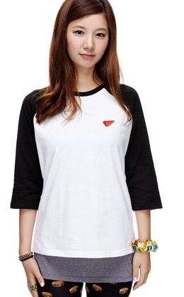 白+黑色 拼色背后数字印花T恤