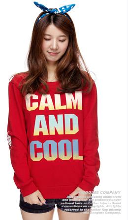 红色 渐变字母时尚卫衣