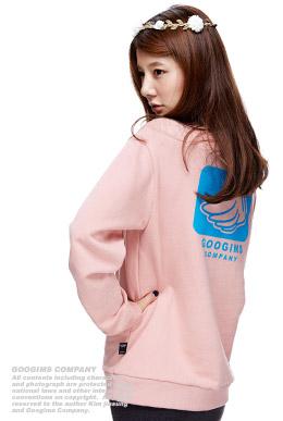 粉色 羽翼LOGO纯色卫衣