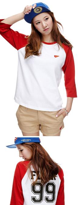 白+红色 拼色背后数字印花T恤