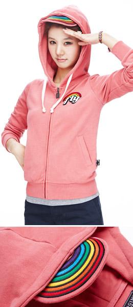 混合粉红色 彩虹帽檐时尚卫衣