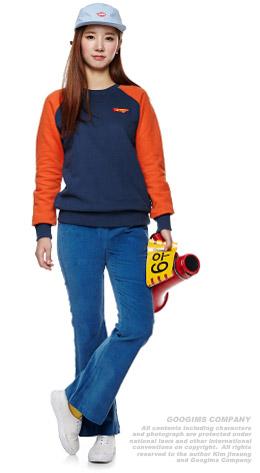 海军蓝+深橙色 插肩袖休闲卫衣
