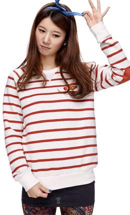 燕麦+橙色 清新条纹时尚卫衣
