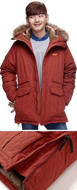 深橘色 纯色毛领连帽大衣