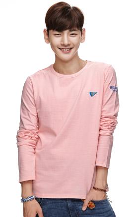 粉色 简约时尚长袖T恤