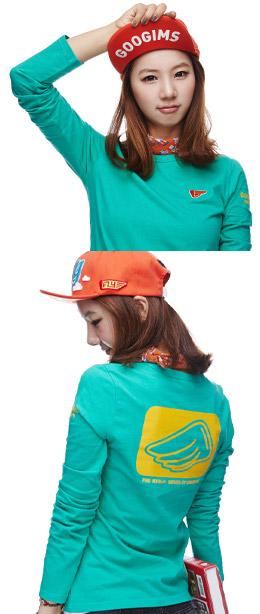 翠绿色 简约时尚长袖T恤