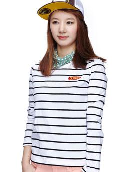 白+黑色 清新条纹运动T恤