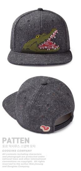 炭灰色 鳄鱼刺绣个性棒球帽