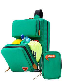 浅绿色 方块立体背包套装