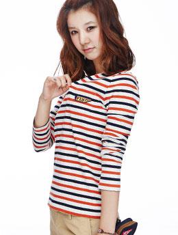 橙+海军 条纹长袖T恤